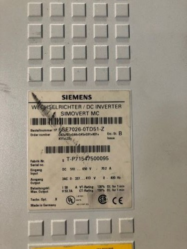 Siemens Master Drive 6SE7026-0TD51-Z