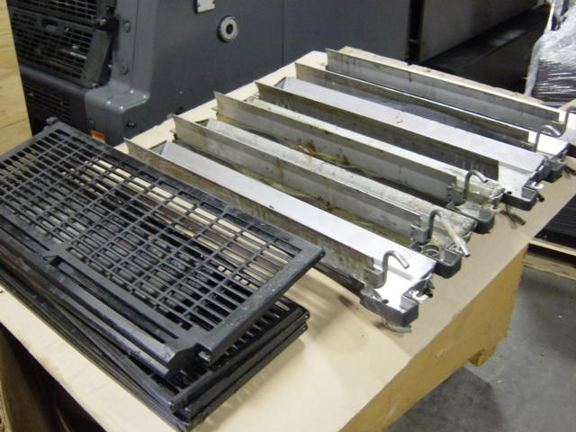 Heidelberg MO crate misc parts - 6 water fountain trays, misc. gates