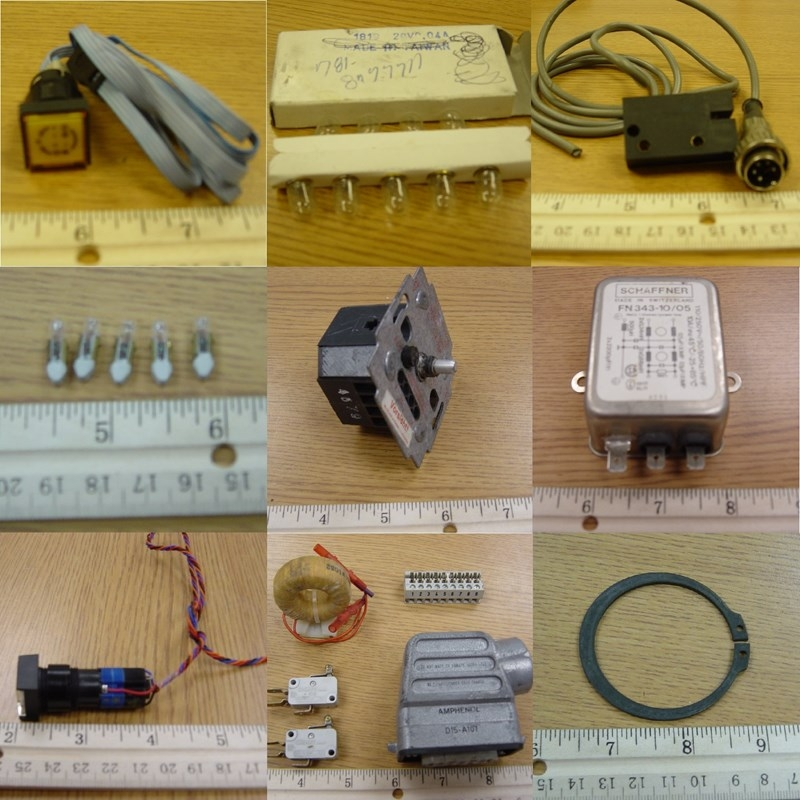 Heidelberg misc. parts: lights, buttons, electrical components, switches, connectors, etc.