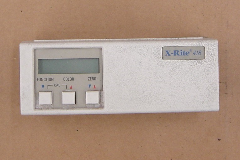 X-Rite Model 418 densitometer, w/ charger, case & manual