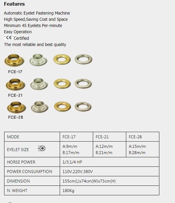 Formosa Eyelet Machine