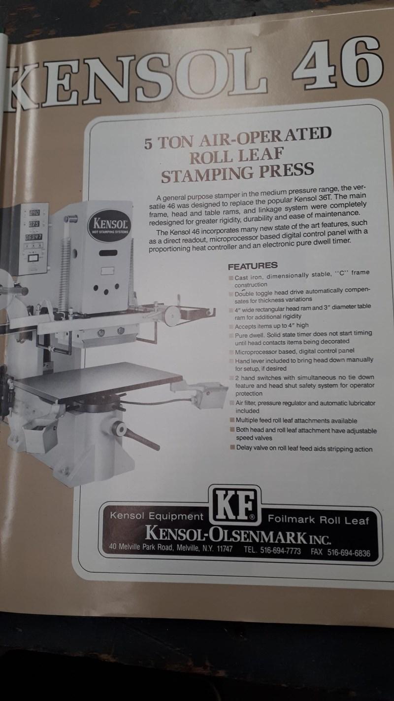 Kensol K46T Hot Stamp Foil Roll Leaf Stamping Press