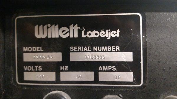 Willett® Labeljet Model 2300-45 Label Applicator