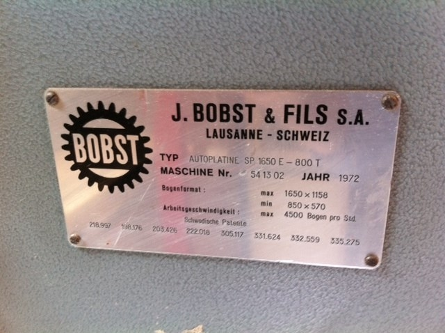 BOBST Autoplatine  SP 1650 SE - 800 T