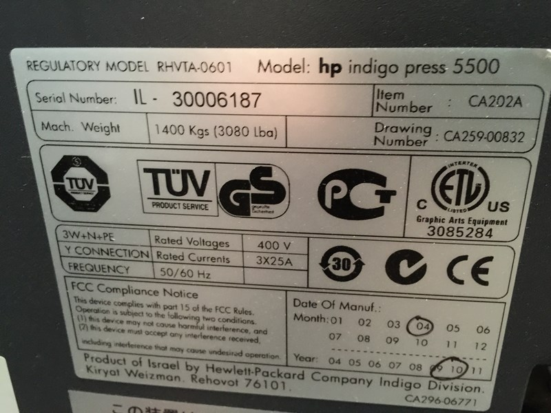 HP Indigo 5500 like new only 1,9 mil imp.