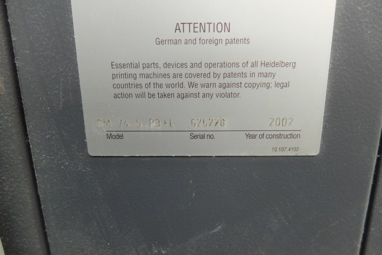 Heidelberg SM 74 5P3 + L Five Colour Offset Press