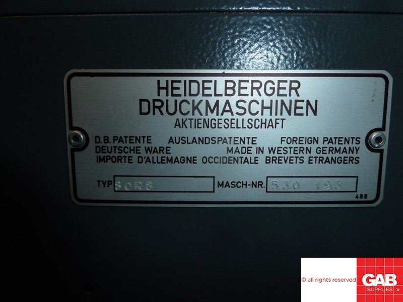 Heidelberg SORS one colour offset