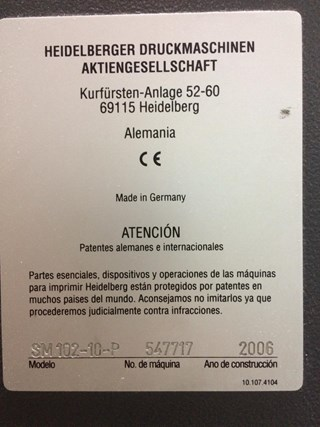 HEIDELBERG SM 102 10 P